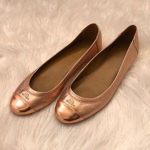 COACH Rose Gold Chelsea Ballet Flats
